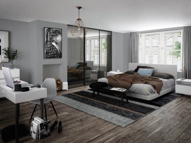 3 Mirror Glass and Black Framed Sliding Wardrobe Doors (Classic, Contour, S700)