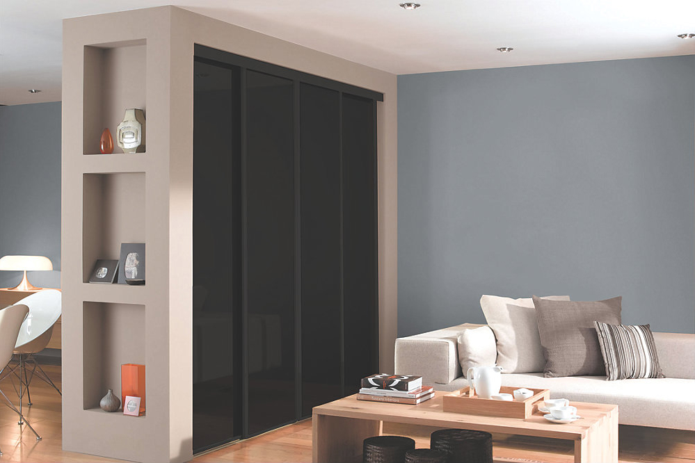 4 Black Glass and Black Framed Sliding Wardrobe Doors (Classic, Contour, S700)