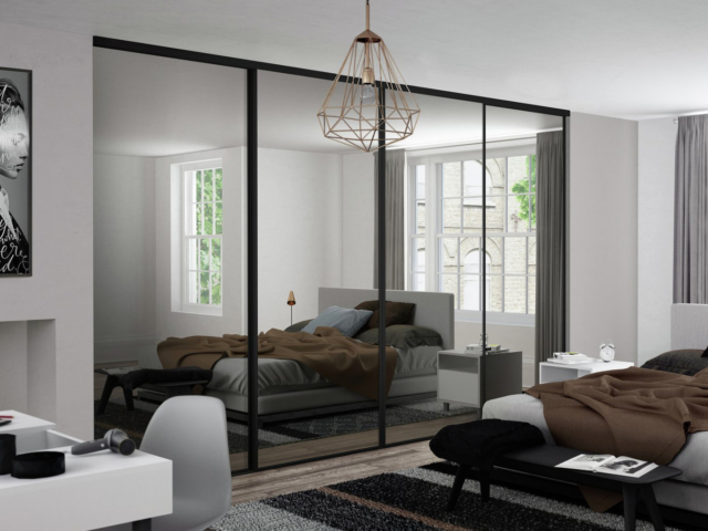 4 Black Glass and Black Framed Sliding Wardrobe Doors (Classic, Contour, S700)