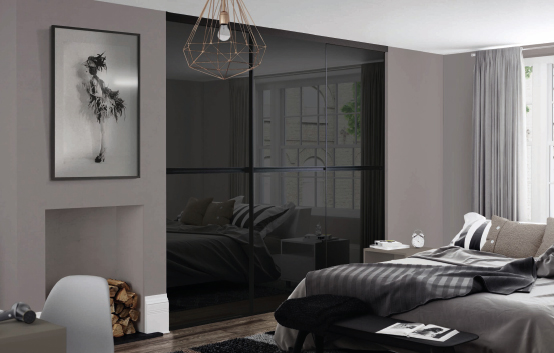 New Black Framed Gliss Minimalist sliding wardrobe doors
