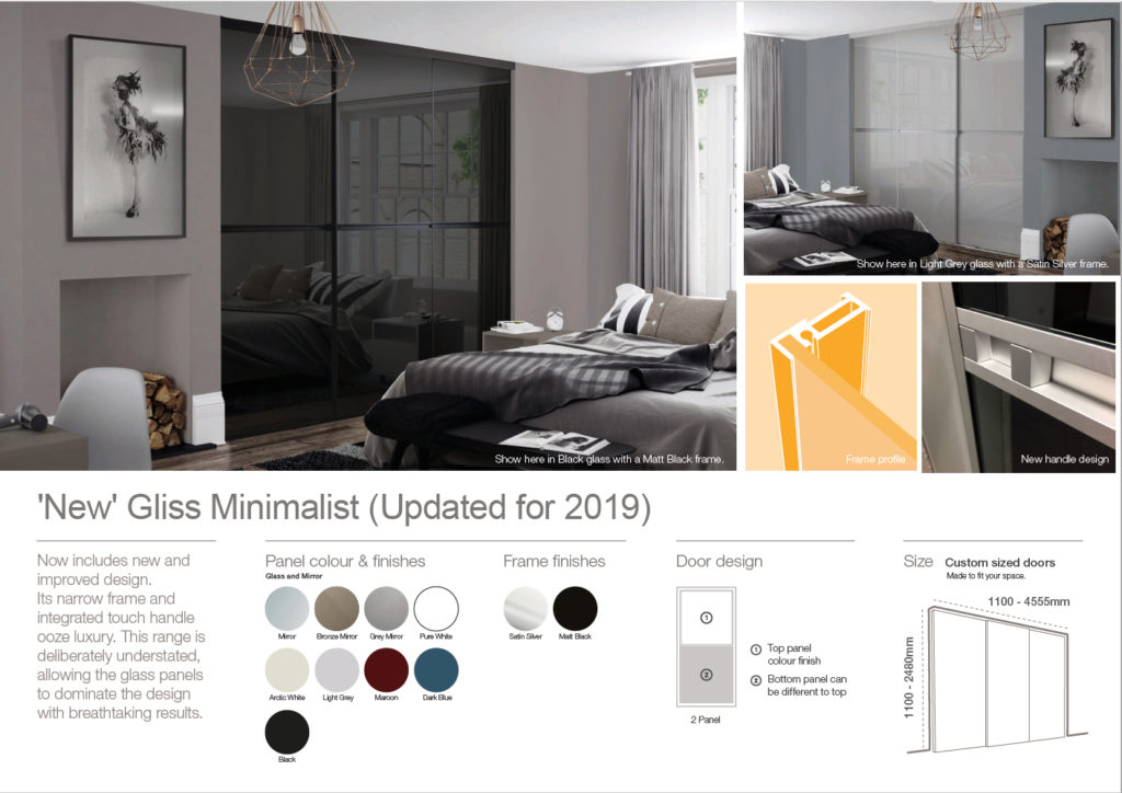 New Gliss Minimalist Sliding Wardrobe Doors Jan 2019