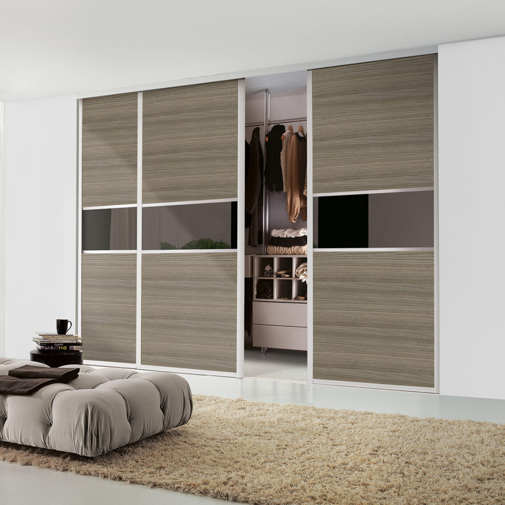 Maxima Sliding Wardrobe Doors Ontario Walnut and Bronze Tinted Mirror - Extra Fineline
