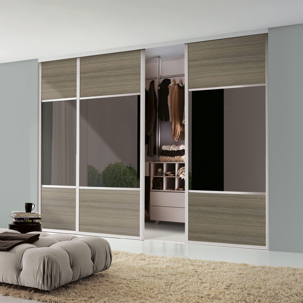 Maxima Sliding Wardrobe Doors Ontario Walnut and Bronze Tinted Mirror - Extra Wideline
