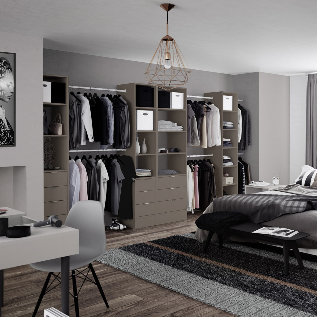 Premium Wardrobe Interior Tower Unit Stone Grey